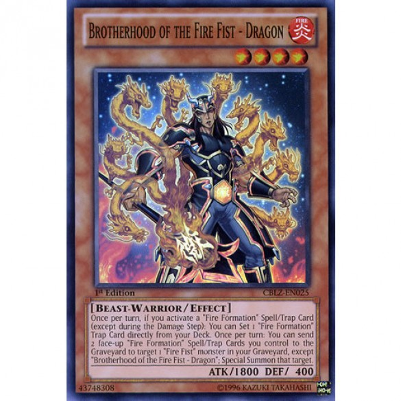 Brotherhood of the Fire Fist - Dragon CBLZ-EN025 1st Edition (Super Rare) Yu-Gi-Oh! Card