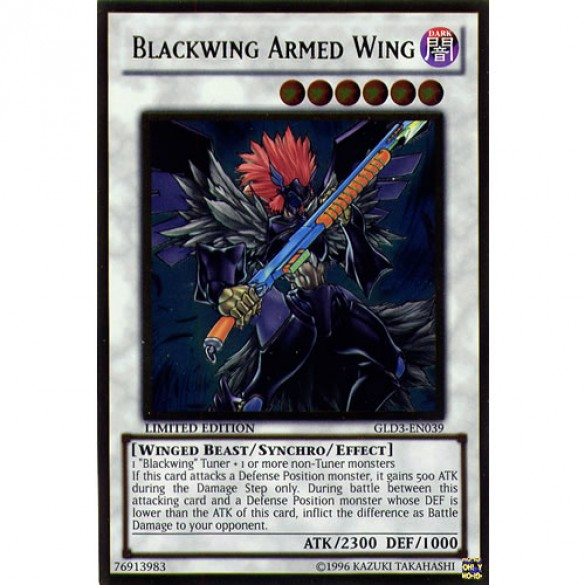 Blackwing Armed Wing GLD3-EN039 Limited Edition (Gold Ultra Rare) Yu-Gi-Oh! Card