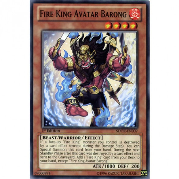 Fire King Avatar Barong SDOK-EN002 1st Edition (Common) Yu-Gi-Oh! Card