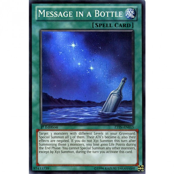 Message in a Bottle ZTIN-EN015 Limited Edition (Super Rare) Yu-Gi-Oh! Card