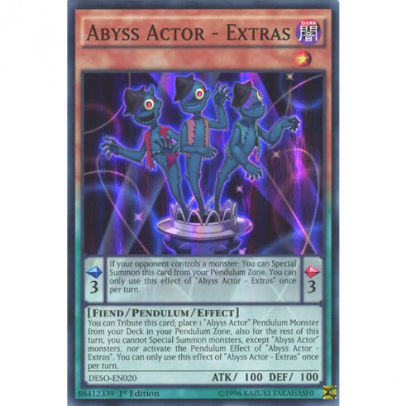 Abyss Actor - Extras DESO-EN020 1st Edition (Super Rare) Yu-Gi-Oh! Card