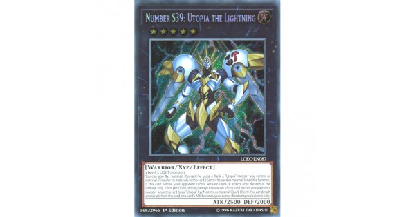 YuGiOh Number S39 Utopia The Lightning LCKC-EN087 Secret Rare 1st Edition Card